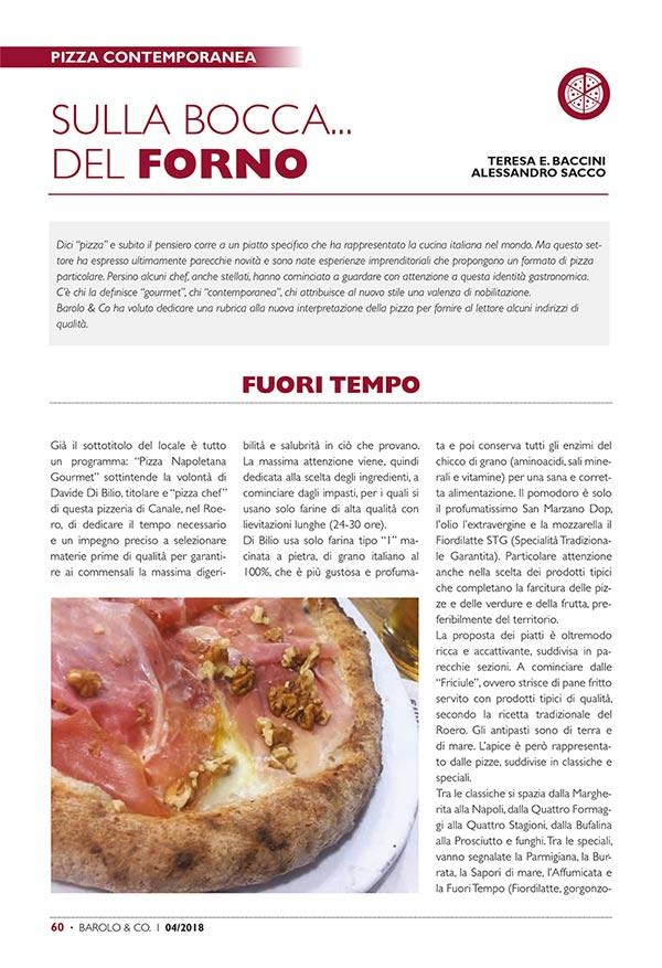 Recensione della Pizzeria Fuori Tempo sulla rivista Barolo & Co